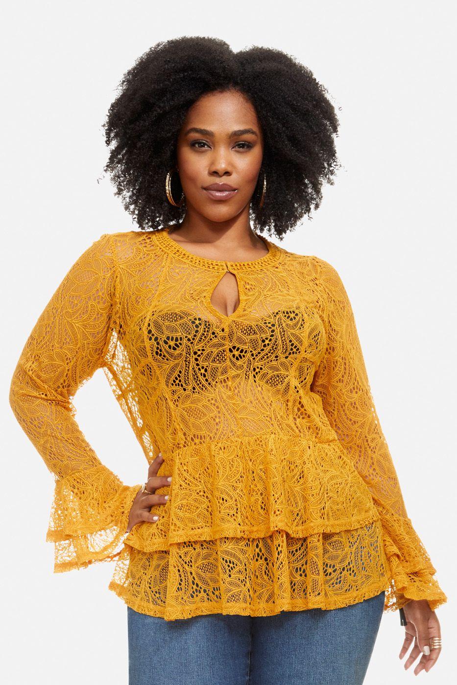 c1437bd28d44 Plus Size Bryant Park Lace Bell Sleeve Top   Fashion Fix   Tops ...