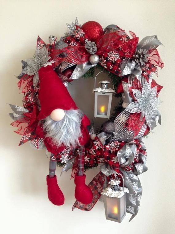 Photo of Ghirlande natalizie per porta d'ingresso, gnomo nordico, mensola natalizia ,, #Christmas #Corone #Door # …