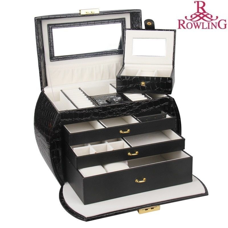 ROWLING Extra Large Jewelry Box Storage Case Watch Holder with Coded