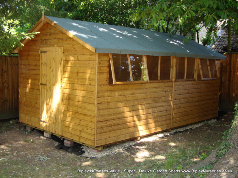 Garden Sheds Ripley deluxe apex 16x10 with heavy torch-on felt.   ripley nurseries