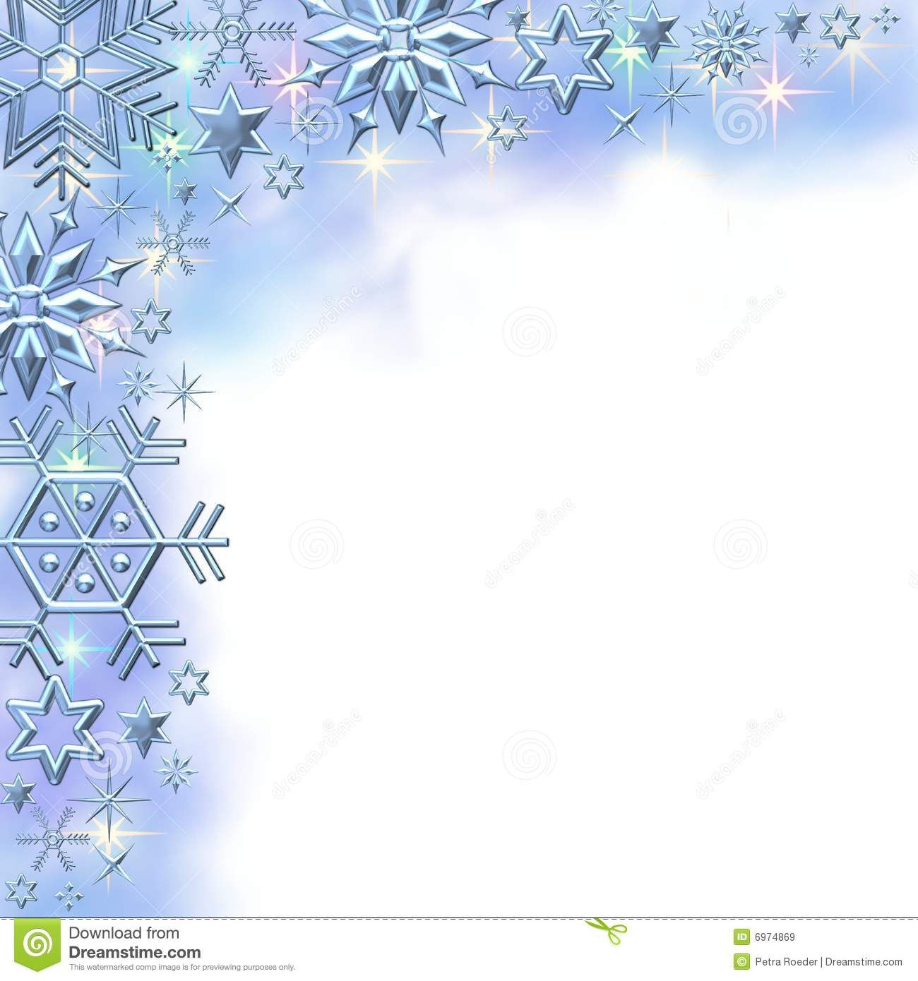 Clip Art Borders Winter Snowflake Border Free Stationery Paper Christmas Graphics