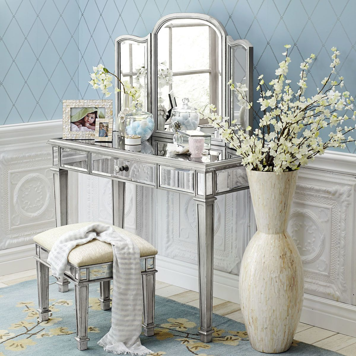 Hayworth silver mirror vanity mirror vanity vanities for Silver vanity table