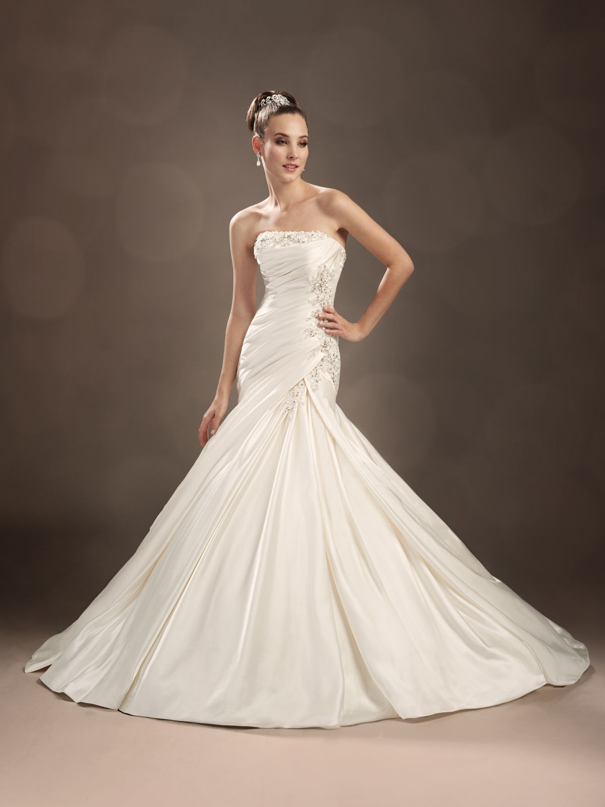 Very fitted a line designer wedding dresses by sophia tolli