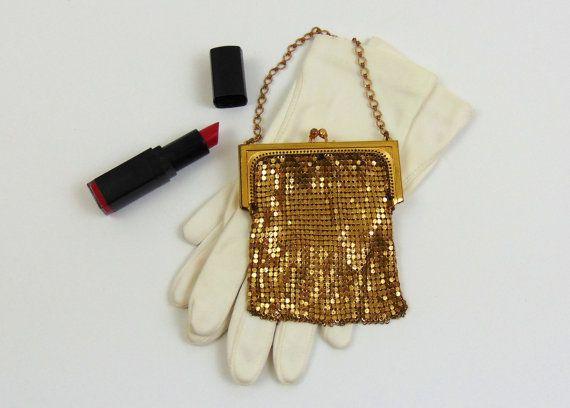 Vintage  Gold Mesh Evening Bag  1950s