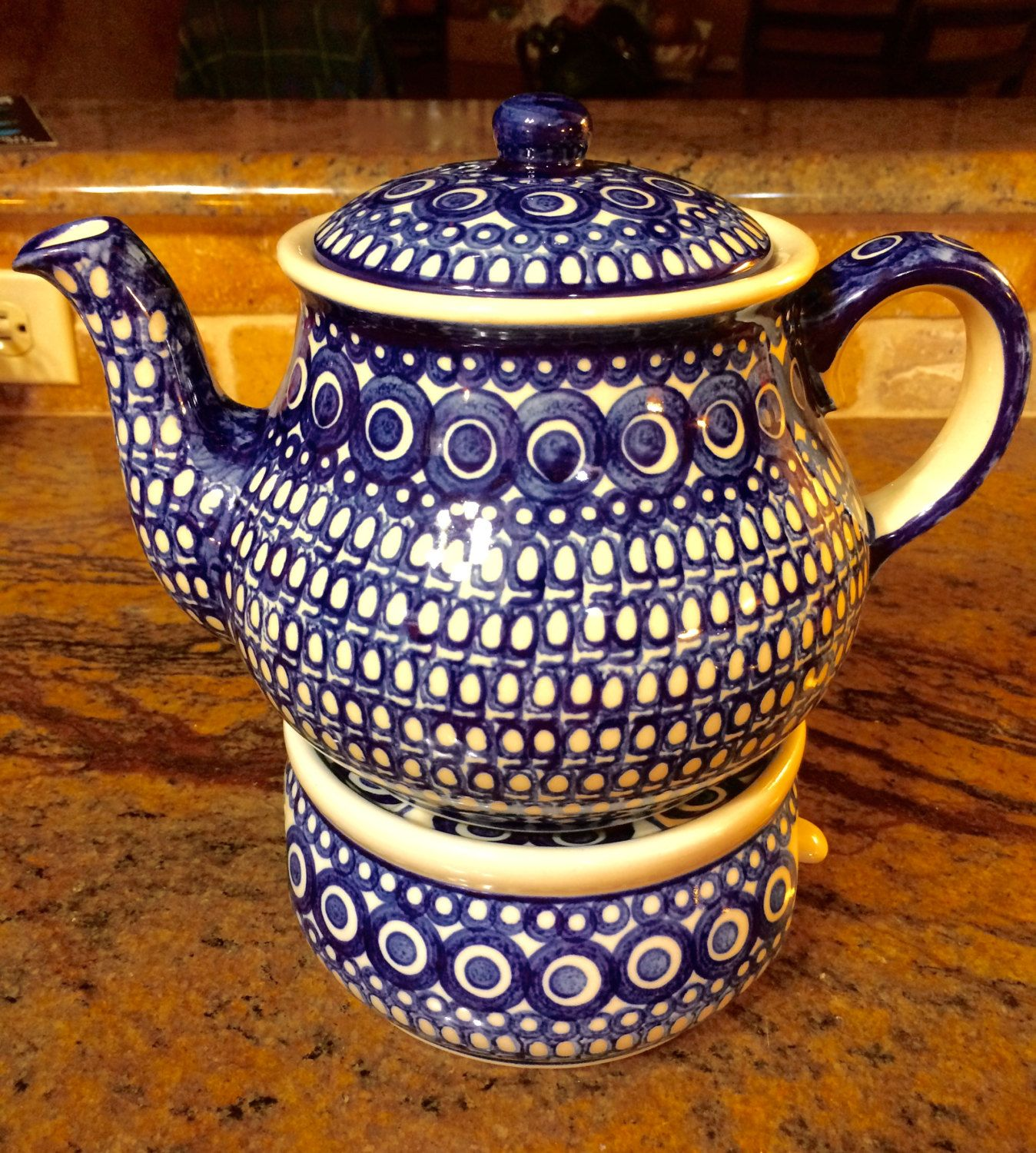 Vintage Handmade Polish Pottery Large Teapot With Matching Warmer By Cottontopvintage On Etsy Tea Pots Handmade Polish Polish Pottery