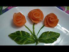 Розы из моркови и свеклы. Украшения из овощей. Цветы из овощей - YouTube