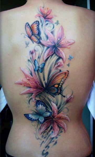 Tatuaże Damskie Kwiaty Na Plecach Tattoos Lily Flower