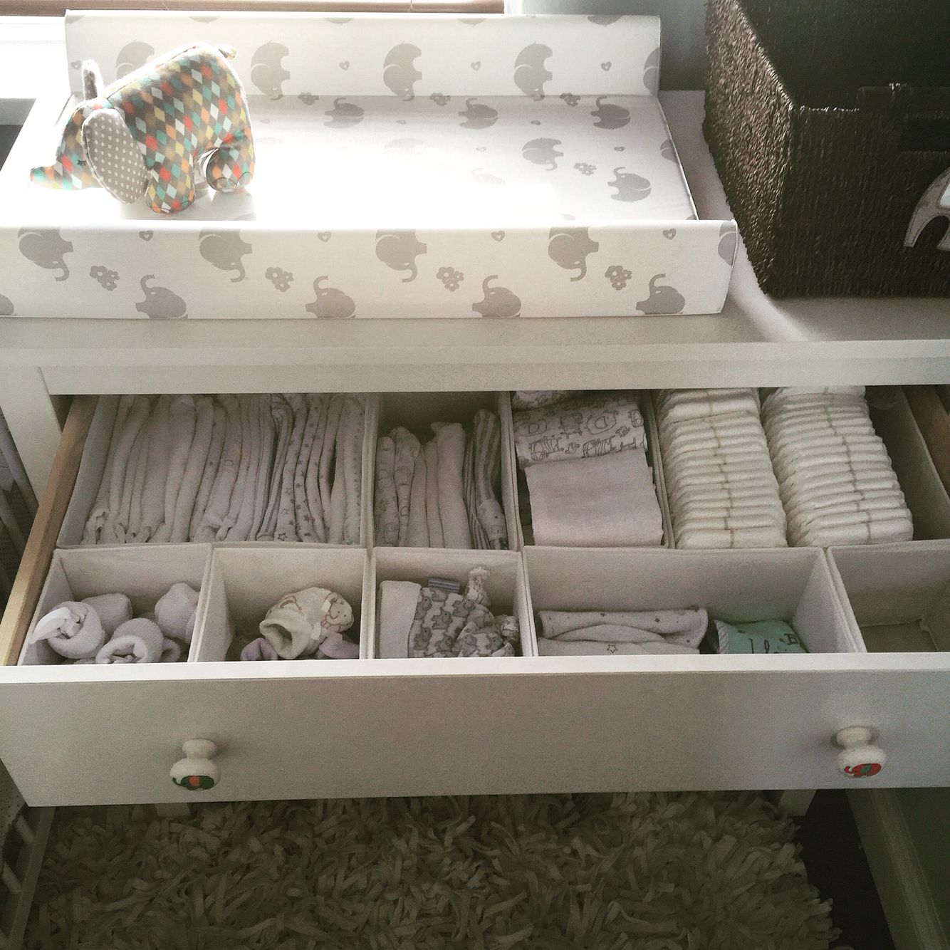 Organisation station ikea skubb boxes perfect for for Baby organizer ideas