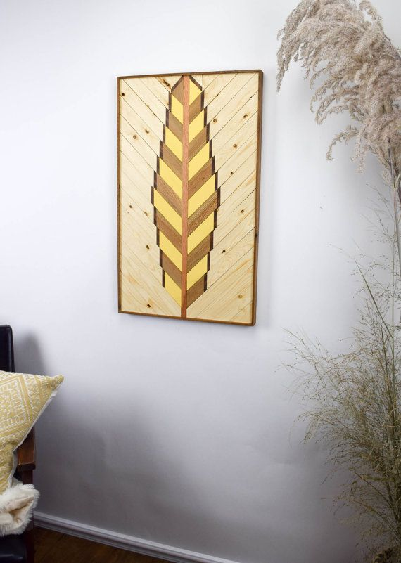 Reclaimed Wood Wall Art Hanging - Large Feather Wall Art - Reclaimed ...