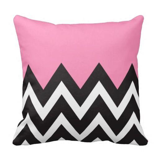 Pleasing Bubblegum Pink With Black And White Chevron Throw Pillow Dailytribune Chair Design For Home Dailytribuneorg