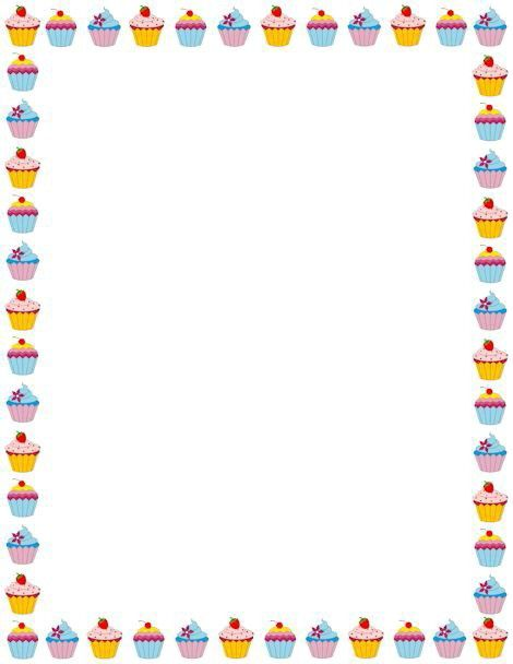 Cup cakes border. (With images)   Clip art borders ...