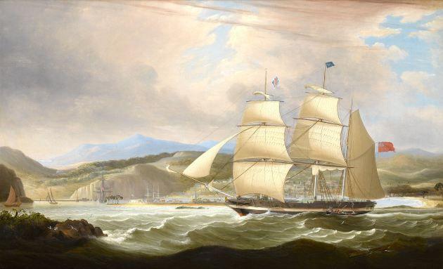 "John Lynn, ""The sailing vessel Woodmansterne on the coast of Jamaica in 1829"""