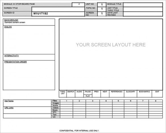 Website Screen Layout Storyboard Template, webpage storyboard - script storyboard