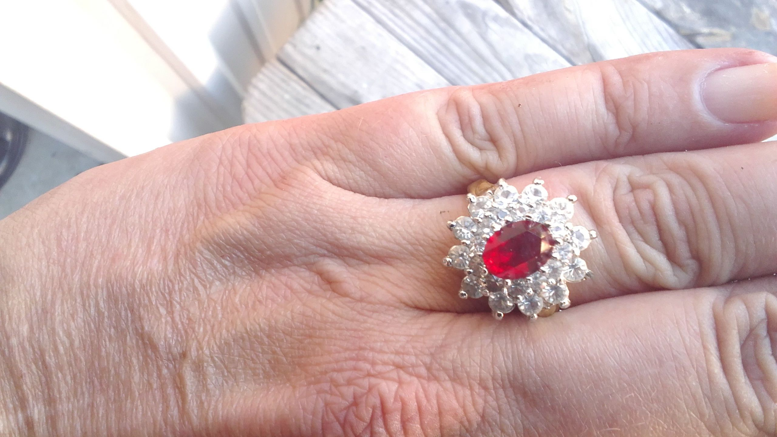 Lab created Ruby and diamonds gold plated ring by Preppysummerfun on ...