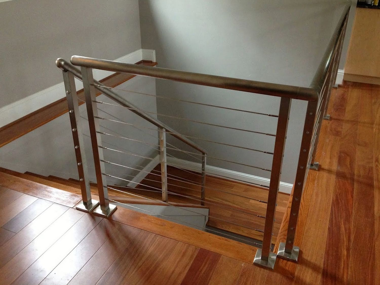 Stainless steel square posts and our wire railing system ...