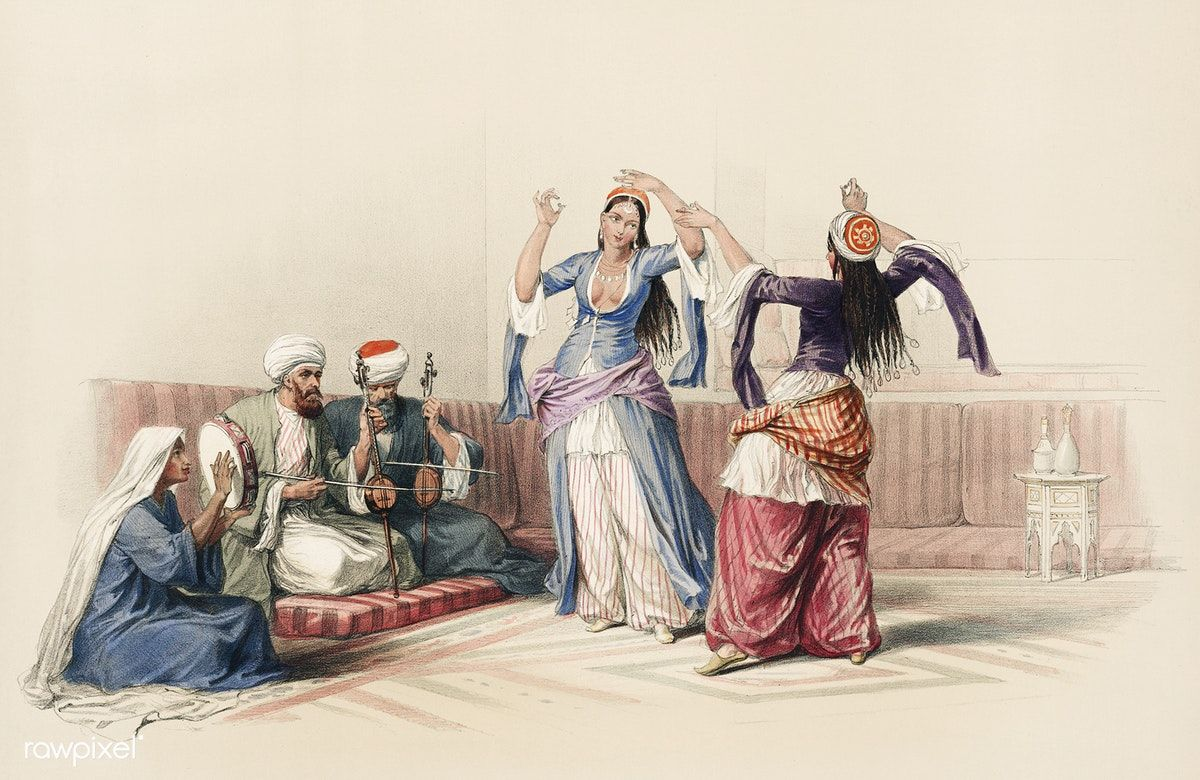 Dancing Girls At Cairo Illustration By David Roberts
