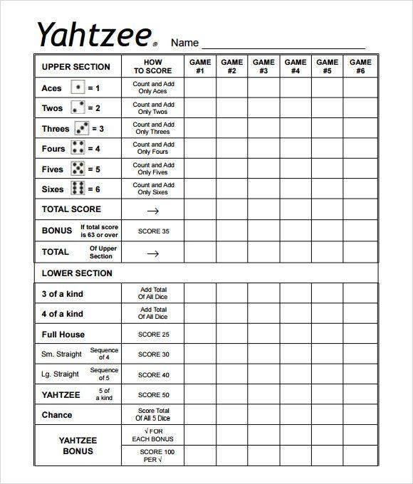 7+ Yahtzee Score Sheet Templates - Free Sample, Example, Format - sample yahtzee score sheet