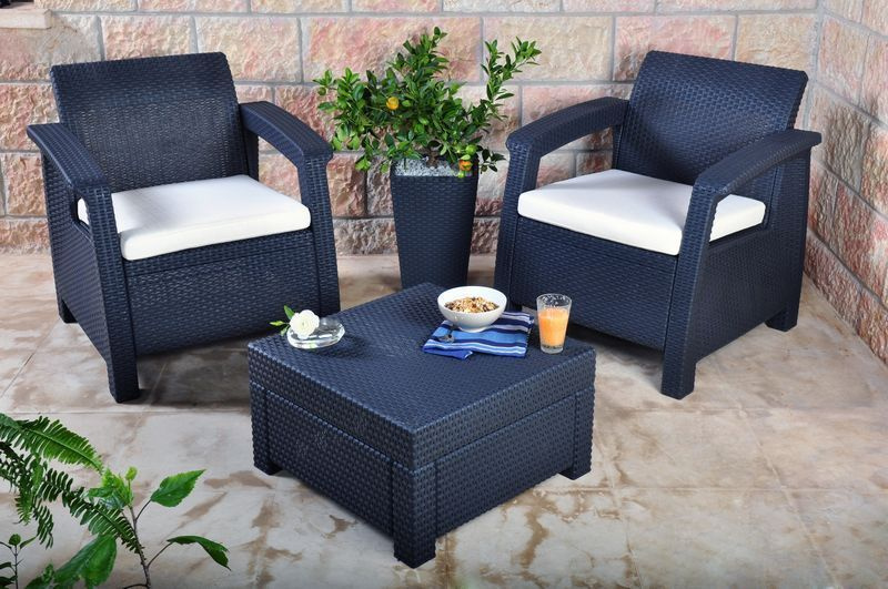 Details About Keter Corfu 2 Seater Balcony Set Plastic