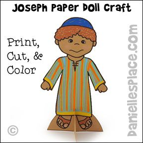 Joseph Wearing His Coat Of Many Colors Paper Doll Craft
