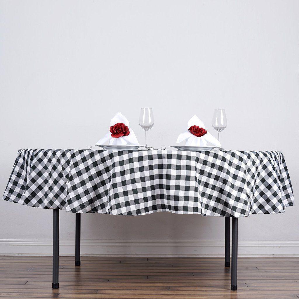 Buffalo Plaid Tablecloth 90 Round White Black Checkered Polyester Tablecloth Round Tablecloth Table Cloth Table Linens