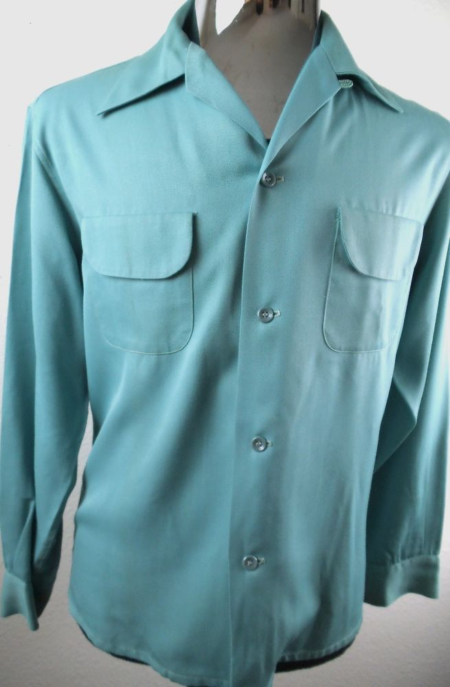 VINTAGE 1940'S-50'S ROCKABILLY VLV PATCH POCKETS  SHIRT-MEDIUM-