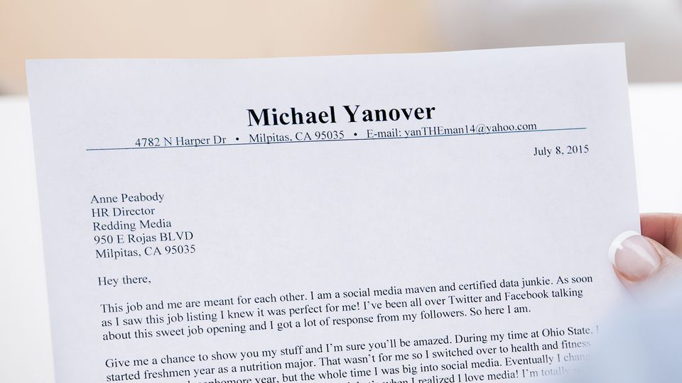 Informal Tone Of Cover Letter Sets Job Applicant Apart From