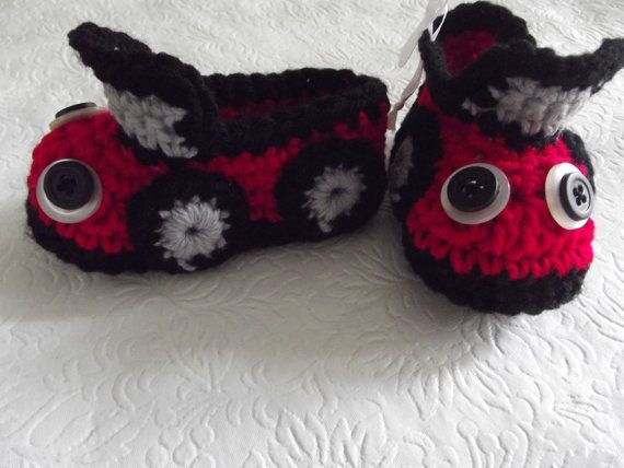 Too cute for any baby boy! Red and Black Crochet Car Baby Booties by TLCBabyBoutique on Etsy, $20.00
