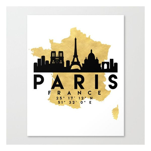 PARIS FRANCE SILHOUETTE SKYLINE MAP ART Canvas Print ($96) ❤ liked ...