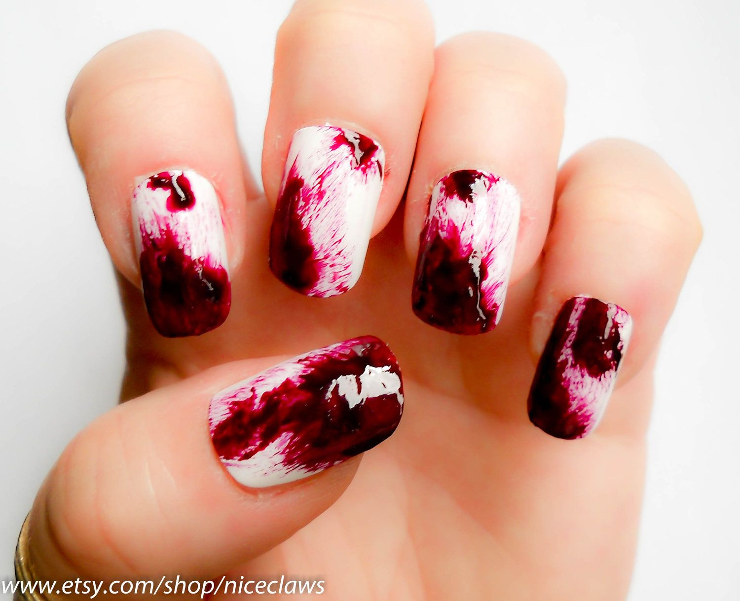 Blood Nails, Real Clot Effect Dexter Inspired Bloody Fake 3D Nails ...