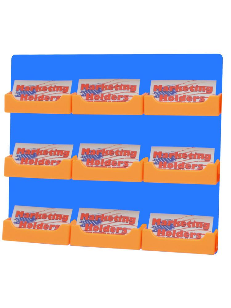 24 Orange 9 Pocket Blue Wall Mount Business Card Holder Florida ...