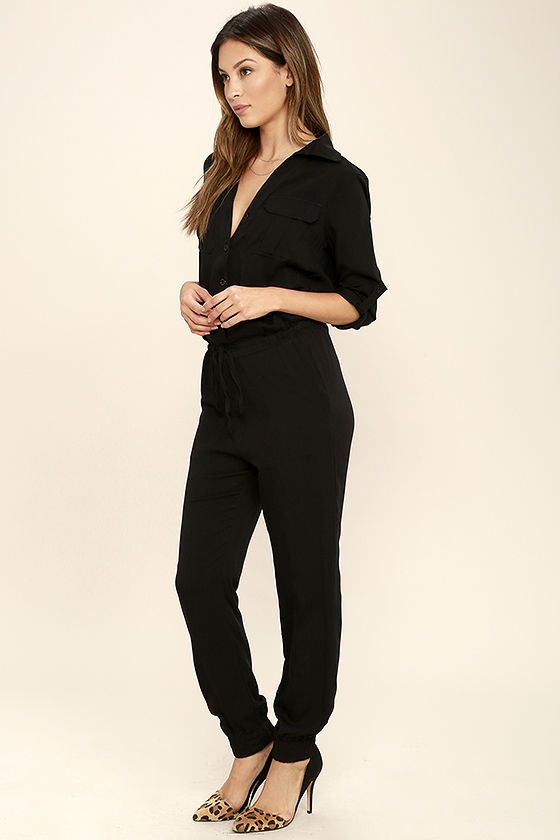 52d4e434ec6 Function and fashion become one with the Sensible Solution Black Jumpsuit!  This woven jumpsuit has a collared neckline