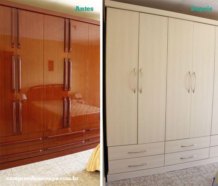 Como Conseguir Adesivo De Idoso ~ Antes e Depois reforma de móveis com laminado adesivo Laminado adesivo, Guarda roupa antigo e