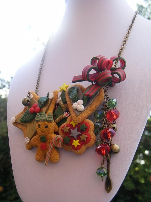 Polymer Cookie Necklace Christmas Clay Charm Food by Sweetystuff, £54.99