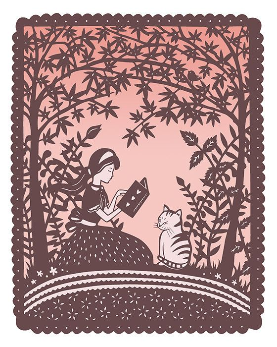 """Girl and Cat Reading Under Trees"" 