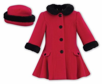 34f8385c98ef Sarah Louise Girls Cerise Hot Pink Dress Coat with Faux Fur Trim ...