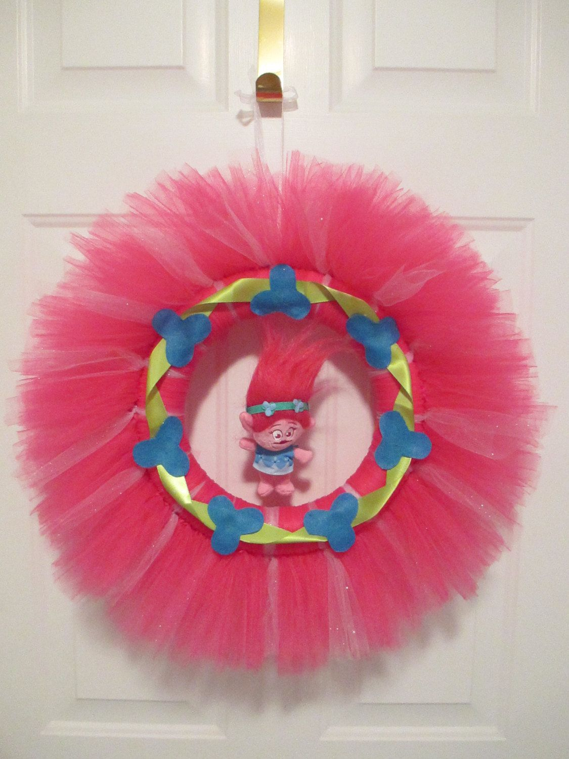 """Girls Trolls Bedroom: Troll Inspired 24"""" Tulle Wreath By TouchOneHeartDesigns On"""