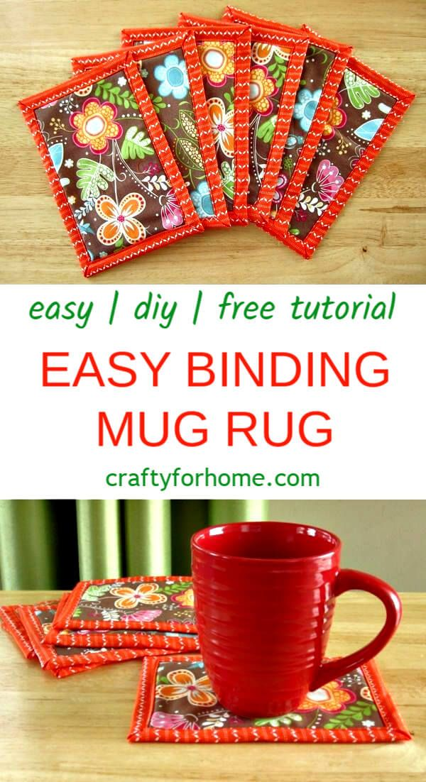 Easy Binding Mug Rug | An easy sewing tips on how to make a…