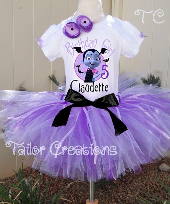 vampirima  birthday  shirt and tutu with name   purple