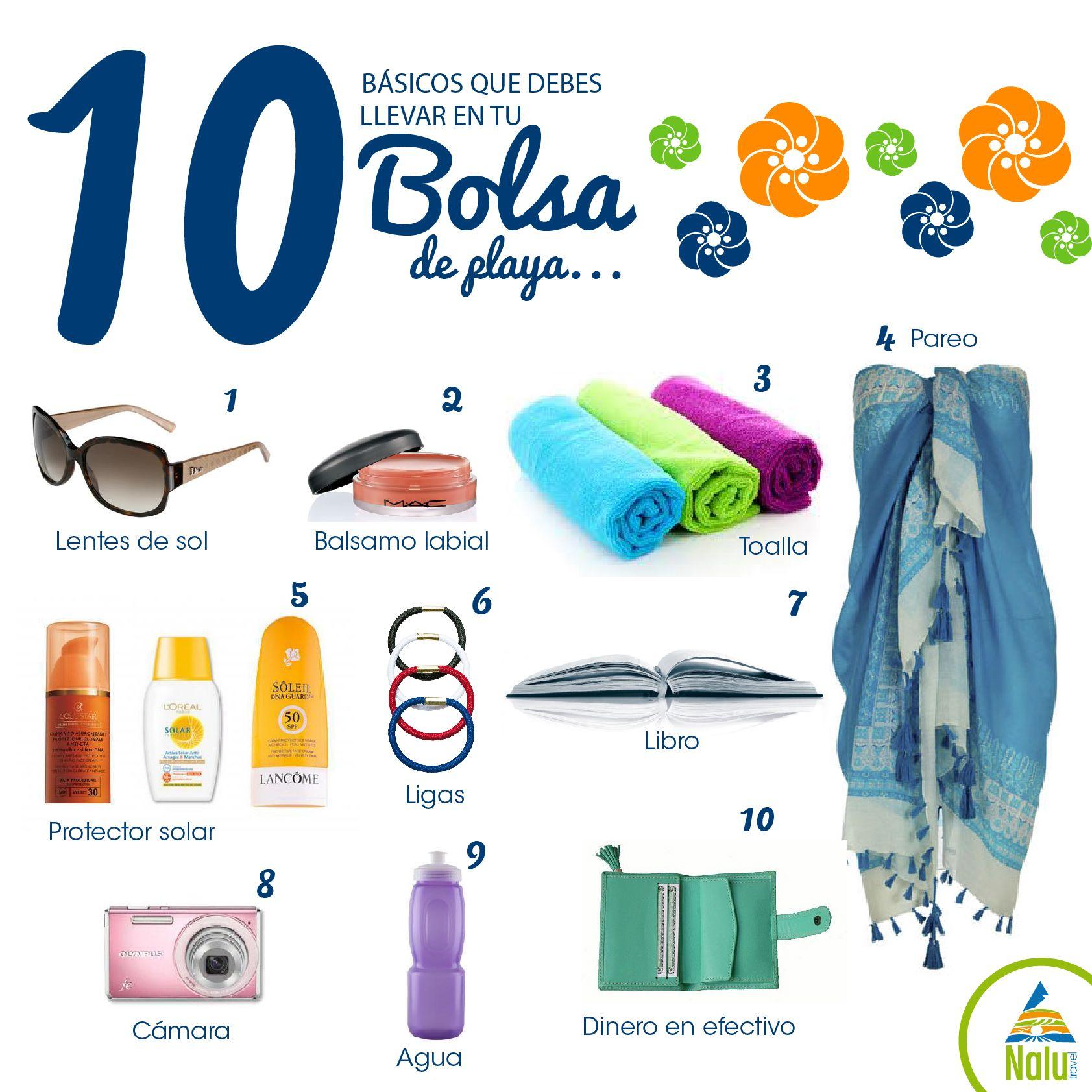 10 Básicos Que Debes Llevar En Tu Bolsa De Playa Bolsa De Playa Playa Bolso De Viaje
