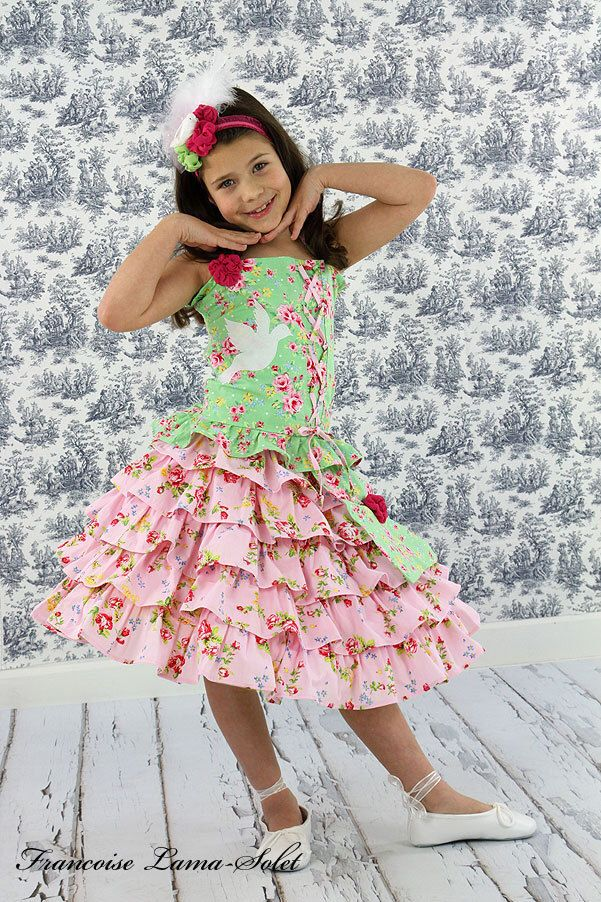 Easter pink green outfit, birthday girl dress, ruffled twirl skirt, appliqued halter top, floral outfit, romantic dress, shabby chic, S 7/8