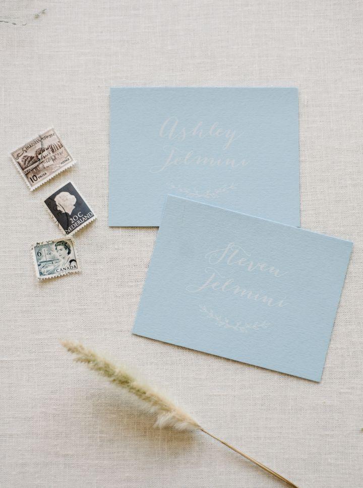 Custom wedding invitation in blue written + light blue envelope | fabmood.com #weddingstationery #weddinginvitation