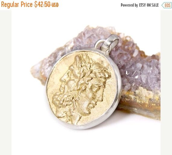 Sale ancient coin pendant 18k gold plated sterling silver zeus sale ancient coin pendant 18k gold plated sterling silver zeus and hera by mozeypictures Gallery