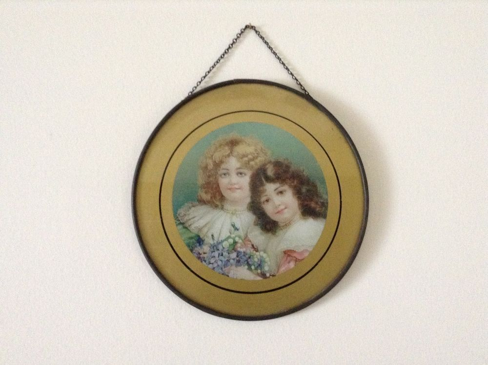 Antique Victorian FLUE COVER Children SISTERS GIRLS ...
