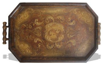 Old World Tuscan Accessory Tray Hexagon Fresco Brown Distressed Traditional Serving Trays Lutina Furniture