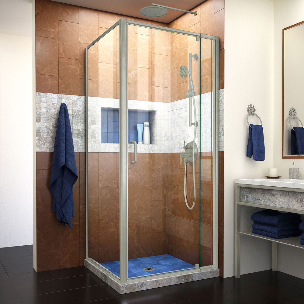 Flex 30 1 2 Inch D X 28 32 Inch W Semi Frameless Pivot Shower Enclosure In Brushed Nickel With Images Shower Doors Framed Shower Enclosures Corner Shower Kits