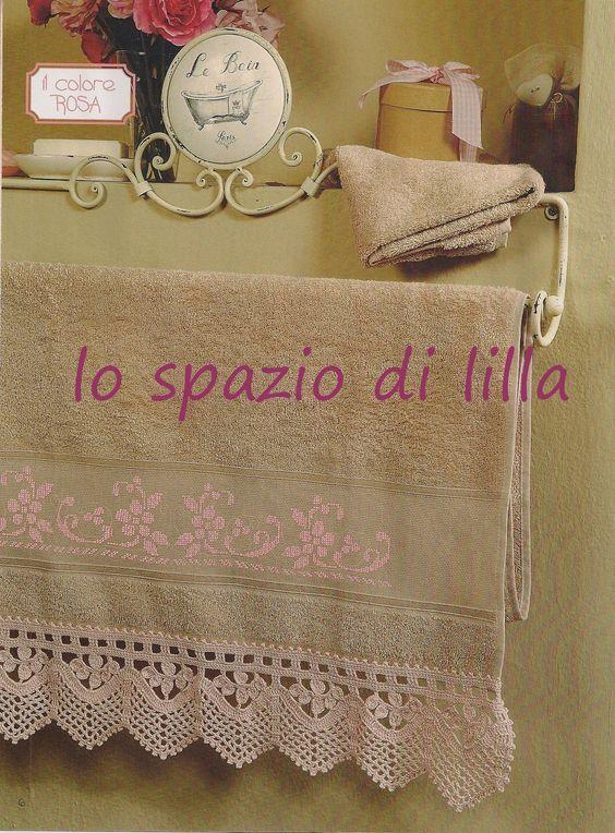 Lo spazio di lilla bordo all 39 uncinetto e ricamo a punto for Pizzi all uncinetto per asciugamani