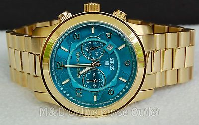 213931638de2 Michael Kors Watch Hunger Stop Gold Tone   Turquoise Oversized Dial MK8315