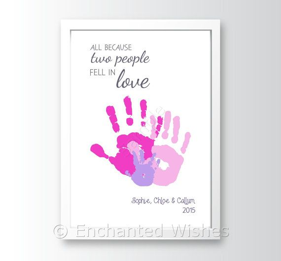 All Because Love Quote Handprint Art Print Hand Print Child