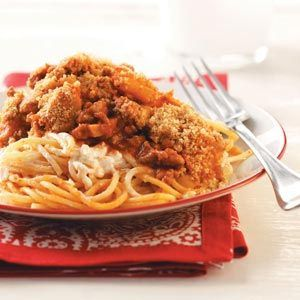 Baked Spaghetti Recipe from Taste of Home -- shared by Doris Heath of Franklin, North Carolina :: http://pinterest.com/taste_of_home/