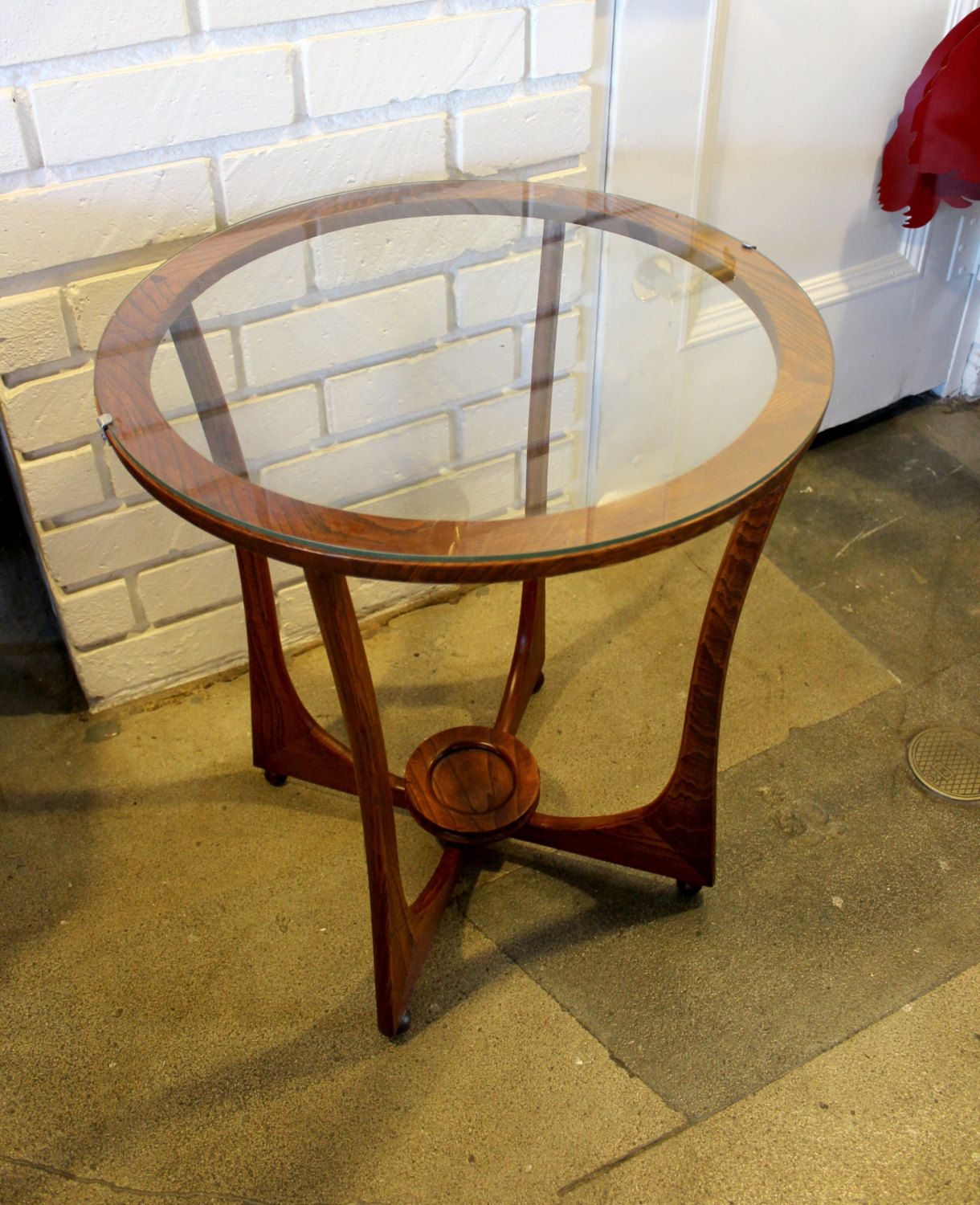 Rare Adrian Pearsall Round Glass Top Side Table Glass Top Side